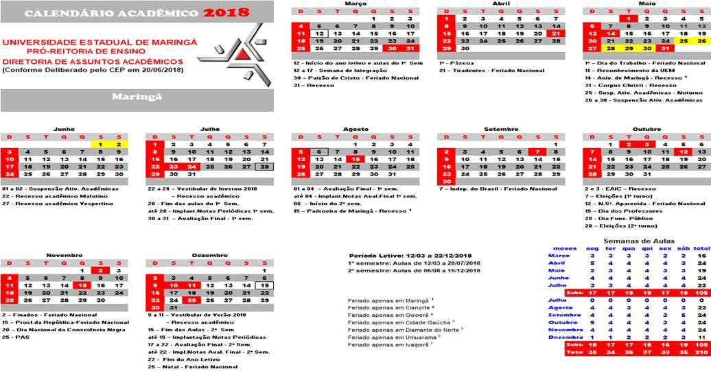 Calendario Uem.Resolucao 021 2018 Cep